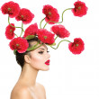 Beauty Fashion Model Woman with Red Poppy Flowers in her Hair — Stock Photo