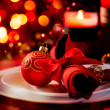 Christmas And New Year Holiday Table Setting. Celebration — Foto Stock #36297417