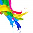 Colorful Paint Splash Isolated on White. Abstract Splashing — Stok fotoğraf