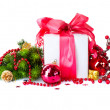 Christmas and New Year Gift Box and Decorations  — Foto de Stock