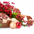 Christmas Decorations and Gift Box Isolated on White — Stock Photo