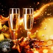 New Year and Christmas Celebration. Two Champagne Glasses — Foto Stock