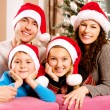 Christmas Big Family with Kids near The Christmas Tree — Stock Photo
