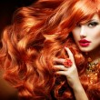 Long Curly Red Hair. Fashion Woman Portrait — Stok fotoğraf #36297649