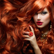thumbnail of Long Curly Red Hair. Fashion Woman Portrait