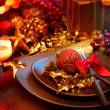 Christmas And New Year Holiday Table Setting. Celebration — Stock Photo #36297663