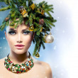 Christmas Woman. Christmas Tree Holiday Hairstyle and Makeup — Stock Photo #36297695