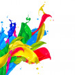 Colorful Paint Splash Isolated on White. Abstract Splashing — Stock Photo