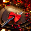 Christmas and New Year Holiday Table Setting. Celebration — Stock Photo #36297727