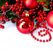 Stock Photo: Christmas Baubles and Decorations isolated on White