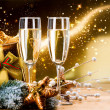 New Year and Christmas Celebration. Two Champagne Glasses — Stok fotoğraf