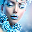 Winter Beauty Woman. Christmas Girl Makeup — Stock Photo #36297825