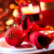 Christmas And New Year Holiday Table Setting. Celebration — Stock Photo #36297881