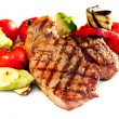 Grilled Beef Steak with Vegetables over White Background  — Stockfoto
