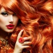 Stock Photo: Long Curly Red Hair. Fashion WomPortrait