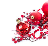 Christmas Baubles and Decoration isolated on White — Stockfoto