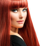 Beauty Woman Portrait. Red Hair Model Girl Face — Stock Photo