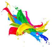 Colorful Paint Splashes Isolated on White. Abstract Splashing — Stock Photo
