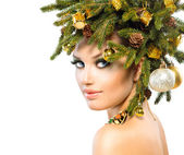 Christmas Woman. Christmas Holiday Hairstyle and Makeup — Stock Photo