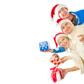 Happy Christmas Family with Gifts. Border Design — Stock Photo