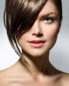 Stylish Fringe. Teenage Girl with Short Hair Style — Stok fotoğraf