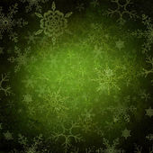 Green Christmas Holiday Background with Snowflakes — 图库照片