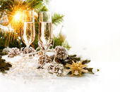 Christmas Scene. New Year Card Design with Champagne — Stock Photo