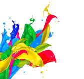 Colorful Paint Splash Isolated on White. Abstract Splashing — Stock Photo