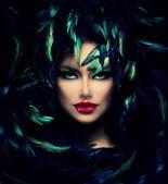 Mysterious Woman Portrait. Beautiful Model Woman Face Closeup — Stock Photo