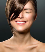 Laughing Teenage Girl with Closed Eyes. Stylish Fringe — Стоковое фото