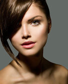 Stylish Fringe. Teenage Girl with Short Hair Style — Стоковое фото
