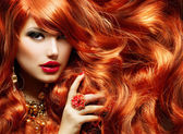 Long Curly Red Hair. Fashion Woman Portrait — Stock Photo