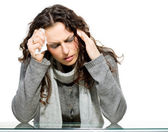 Sick Woman. Flu. Woman Caught Cold — Stock Photo