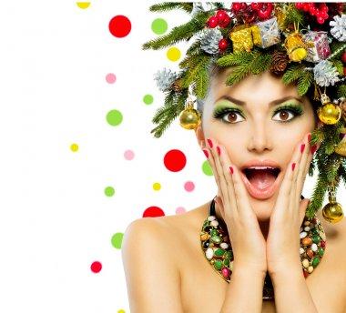 Christmas Woman. Christmas Tree Holiday Hairstyle and Make up