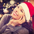 Christmas Woman in Santa Hat — Stock Photo