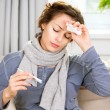 Stock Photo: Sick Womwith Thermometer. Headache