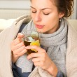 Stock Photo: Sick Womwith Hot Drink. Headache. Flu