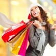 Stock Photo: Christmas Shopping. Girl With Credit Card In Shopping Mall
