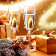New Year and Christmas Celebration. Two Champagne Glasses — Stock Photo #36962703