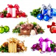 Christmas. Collage of Colorful New Year's Gifts and Decorations — Foto Stock