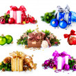 Christmas. Collage of Colorful New Year's Gifts and Decorations — Stock Photo