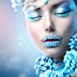 Stock Photo: Winter Beauty Woman. Christmas Girl Makeup