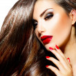 Sexy Beauty Girl with Red Lips and Nails. Provocative Makeup — Foto de stock #36962749