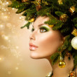 Christmas Woman. Christmas Tree Holiday Hairstyle and Makeup — Stock Photo #36962791
