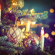 Stock Photo: Christmas Tree Decorated with Baubles, Garlands and Candles