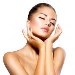 Beauty Spa Woman Portrait. Beautiful Girl Touching her Face — Stock Photo #36962807
