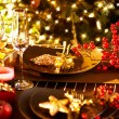 Christmas And New Year Holiday Table Setting. Celebration — Stock fotografie