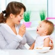 Mother Feeding Her Baby Girl with a Spoon — Stock Photo #36962891