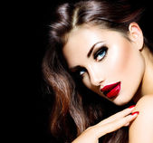Sexy Beauty Girl with Red Lips and Nails. Provocative Makeup — Stok fotoğraf