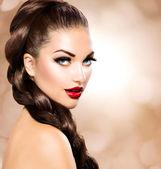 Hair Braid. Beautiful Woman with Healthy Long Brown Hair — Stock Photo